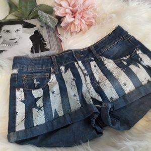 (LEI) Stars & Stripes Mini Stretch Denim Shorts